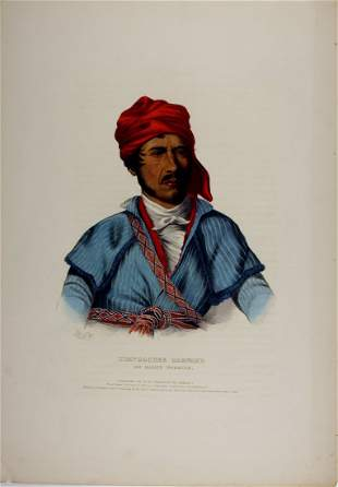 TIMPOOCHEE BARNARD Uchee Warrior. Colored folio litho