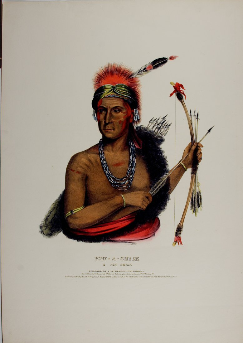 POW-A-SHEEK,  Fox Indian Chief. Colored lithograph