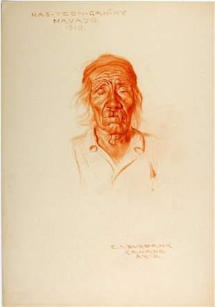 HAS-TEEN-GAH-HY, Navajo, 1910 crayon by E. A. Burbank.