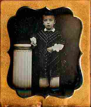 LIVELY BOY BESIDE COLUMN, 1/6 PLATE DAGUERREOTYPE