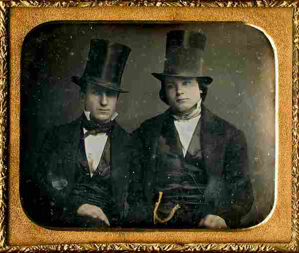 TWO MEN WITH TALL HATS, 1/6 PLATE DAGUERREOTYPE