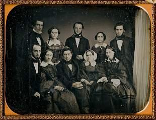 FAMILY GROUP OF 10 1/2 PLATE DAGUERREOYPE, IDENTIFIED