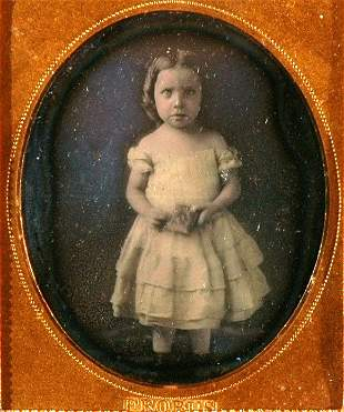 NEW ORLEANS. GIRL HOLDS A CASE. DAGIERREOTYPE BY FROBUS