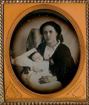 MOTHER,  BABY, 1/6 PLATE DAG BY SIDNEY MILLER NASHUA NH