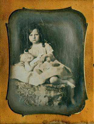 GIRL WITH BABY ON HER LAP, � PLATE DAGUERREOTYPE