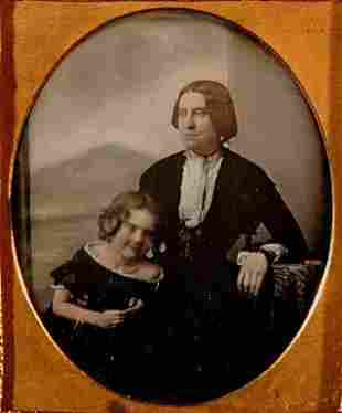 MOTHER AND DAUGHTER, ENGLISH DAGUERREOTYPE