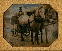 TWO HORSES PULL A SLEIGH-WAGON, 1/6 PLATE DAGUERREOTYPE