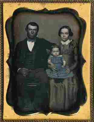 GRIM-FACED COUPLE AND BABY, FINE DAGUERREOTYPE