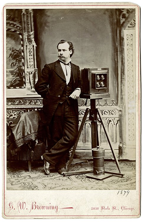 A photographer with his 4-lens camera for CDV's.