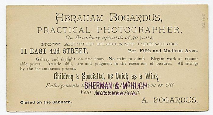 Advertising card for Abraham Bogardus. - 2