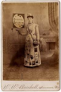 A photo advertising lady.