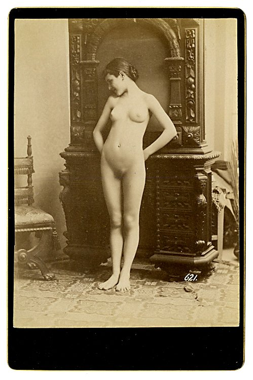 Three cabinet cards of nudes. - 3