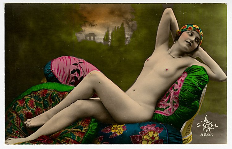 Two colored photo postcards of nudes.