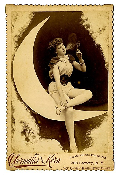 The moon. Five cabinet cards.