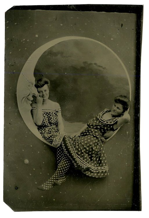 Friends or lovers on the moon. 2 - CDV size tintypes.