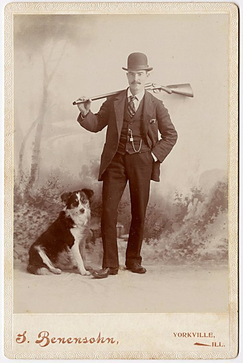 A dalmation and hunting dogs. 3 cabinet cards. - 3