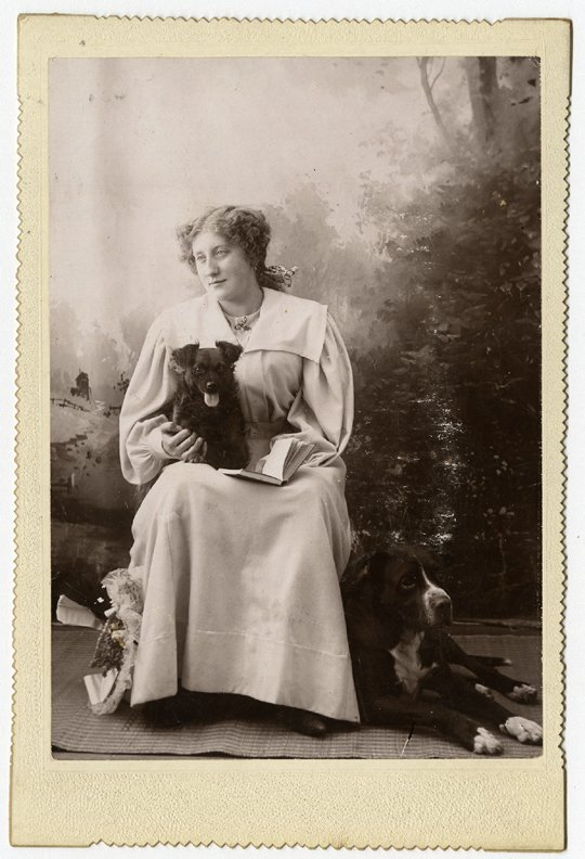 Dogs on laps. 4 cabinet cards. - 3