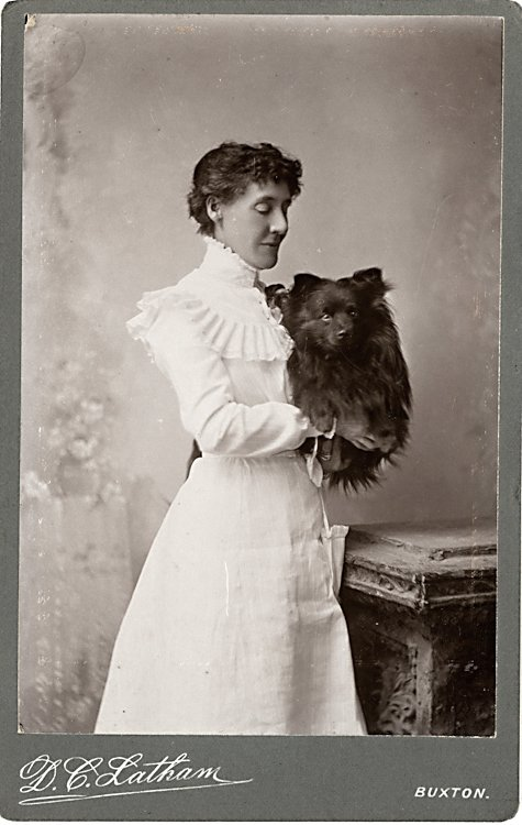 Dogs being carried. 2 cabinet cards - 2
