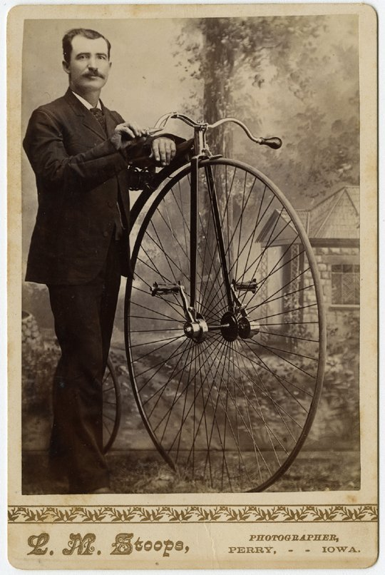 Three cabinet cards of men with high wheel bicycles.