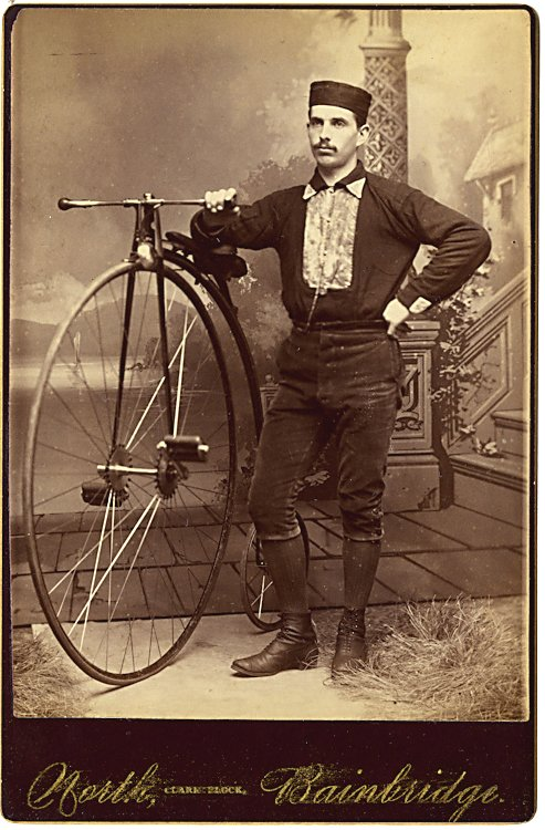 Three cabinet cards of men with high wheel bicycles. - 2