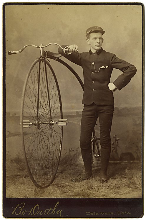Three cabinet cards of men with high wheel bicycles. - 3