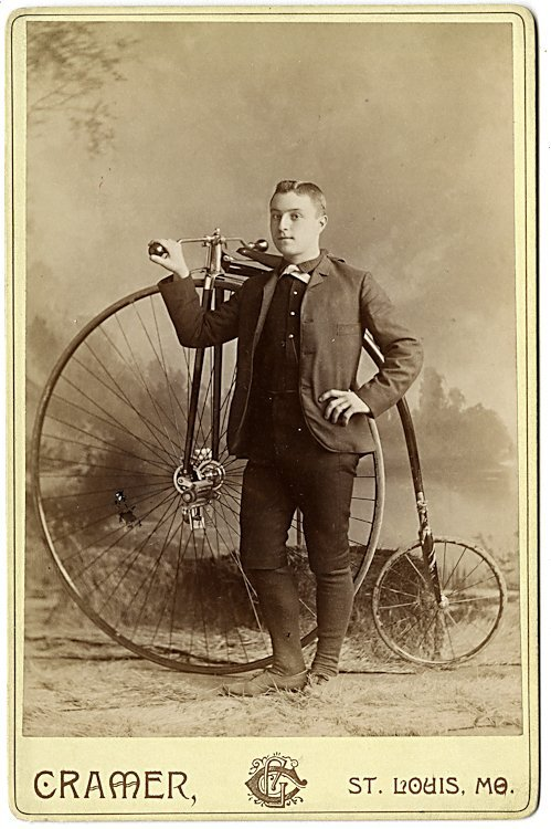 Two cabinet cards of men with high wheel bicycles.
