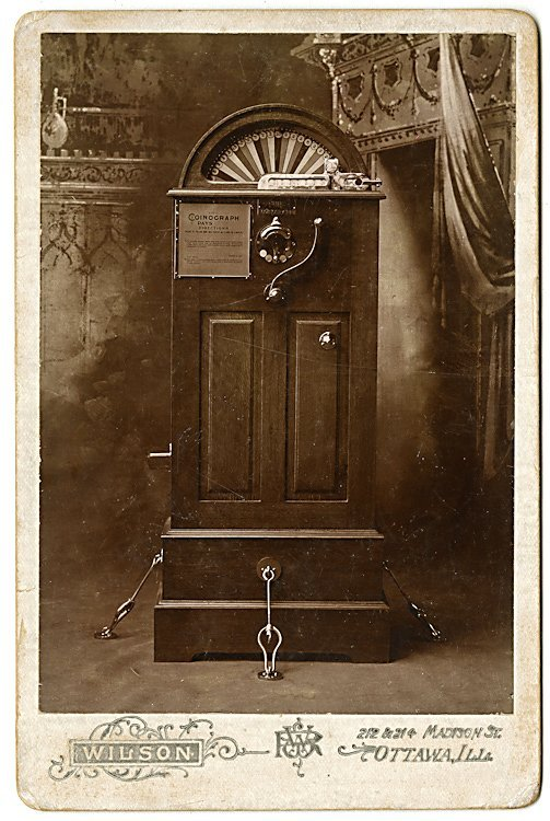 "An early slot machine, the ""Coinograph."""