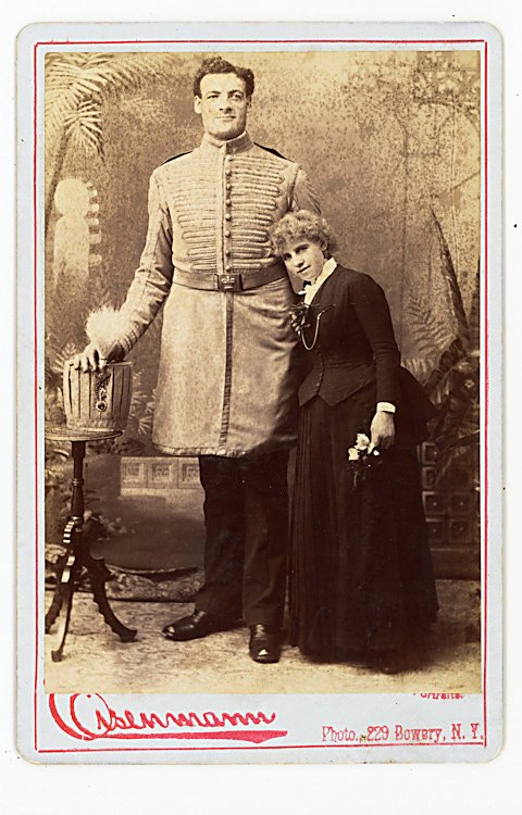 Captain Ureck, Giant, 2 cabinet cards. - 2