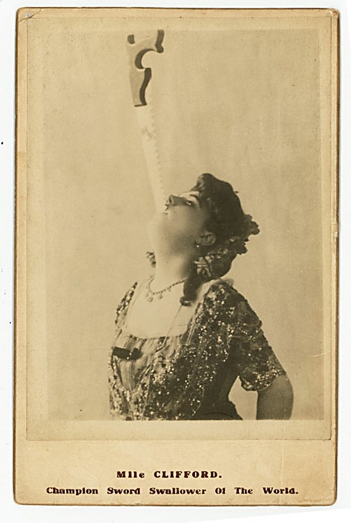 """Mlle Clifford """"Champion Sword Swallower of the World."""""""