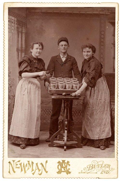 Canning fruit.