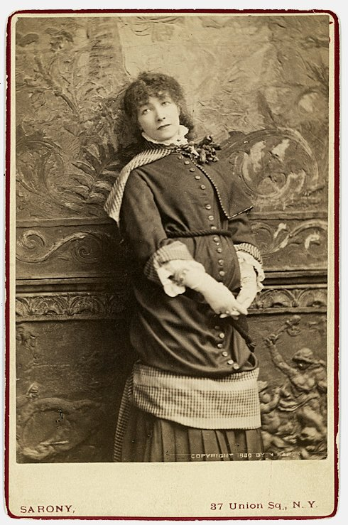 Sarah Bernhardt. The great actress posed against a