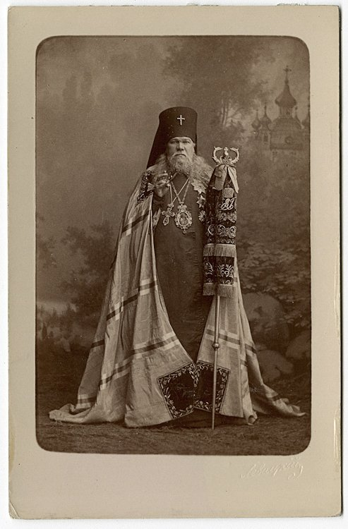 Archimandrite Leontiev in his rich garb with a misty