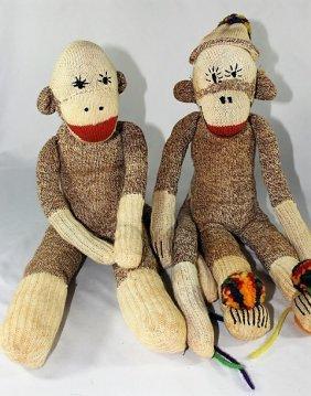 Vintage Pair of Sock Monkey Dolls
