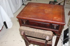 Vintage Sewing Cabinet with Chair