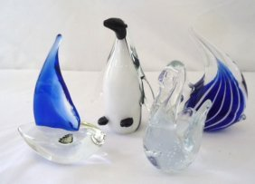 Lot of Glass Animals - penguin, swan, fish, & boat