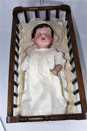 Vintage Morimura Bisque Head Doll and Cradle