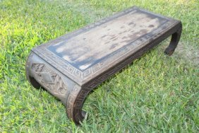 Wood Carved Coffee Table with Ships