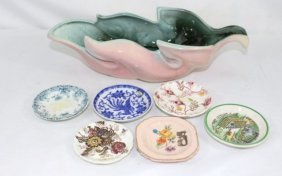 Hull Leaf Shaped Vase and small various trinket dishes