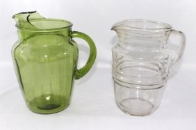 Green and Clear Glass Pitchers