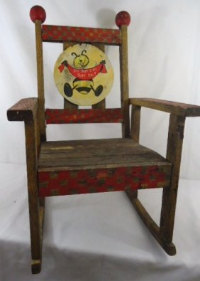 Small Childs Wooden Rocker - I'm just a busy bee