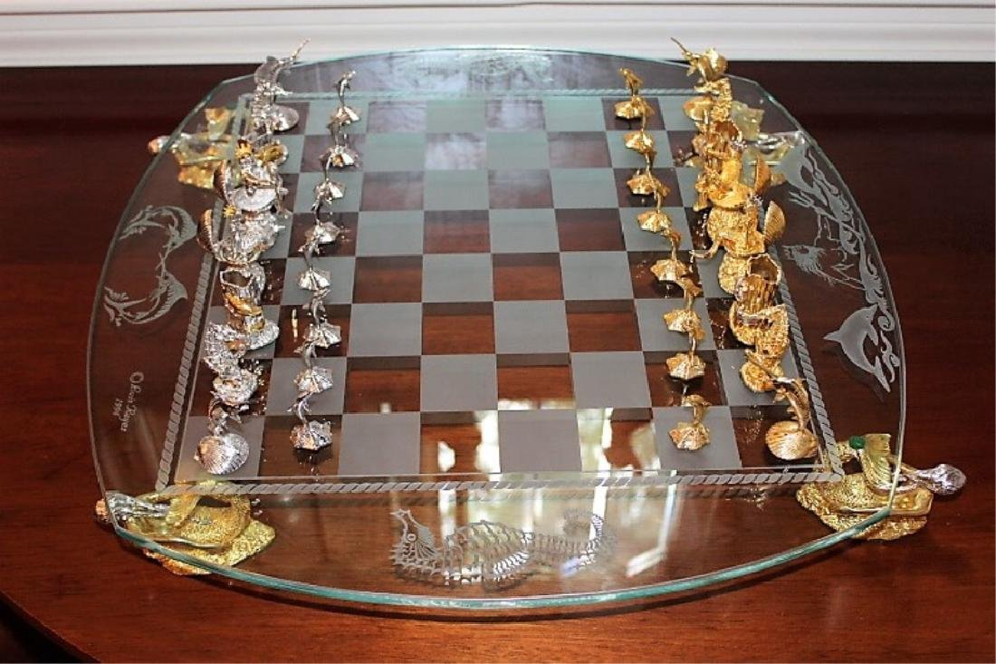 Limited Edition 24 KT & Sterling Luis Reyes Chess Set