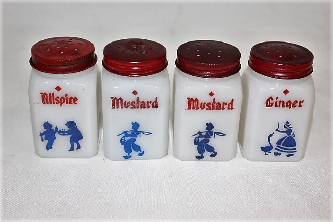 White Milk Glass Spice Jars with Blue Figurines