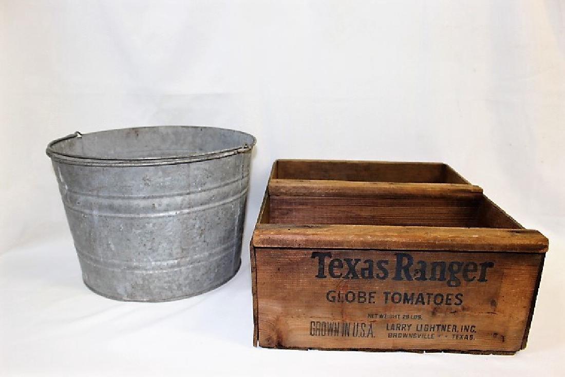 Galvanized Bucket & Vintage Texas Ranger Globe Tomatoes