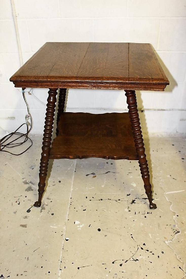 Tiger Oak Parlor Table with Glass and Metal Claw Feet