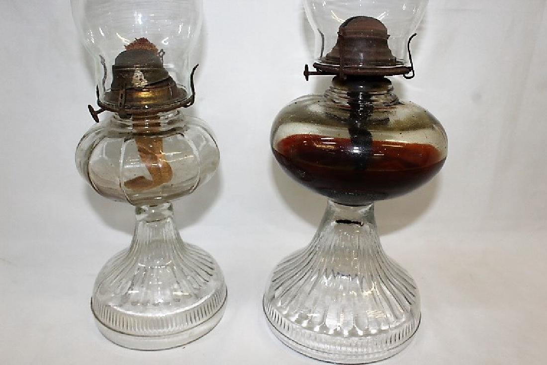 Pair of Glass Oil Lamps - 2