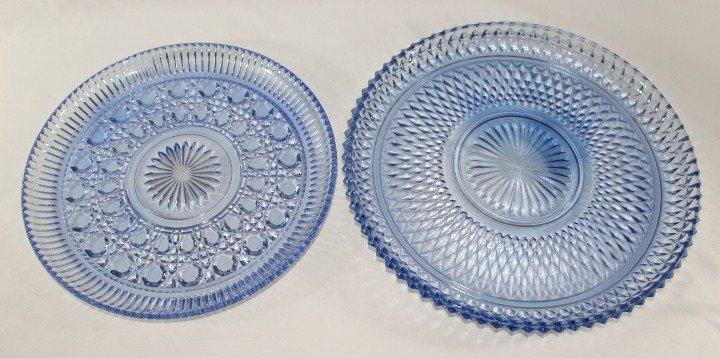 Daisy Button Blue Platter - Indiana Glass Diamond