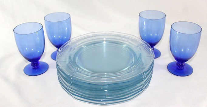 8 Blue Saucers and 4 Blue Glasses