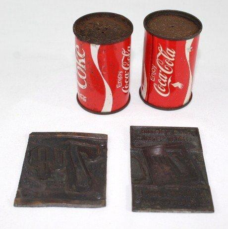 Coca-cola Salt & Pepper, 7-Up Metal Ink Printer stamp