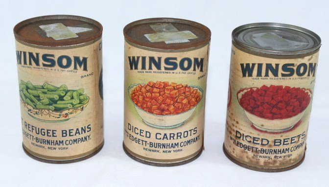 3 - Winsom Vegetable Cans c.1920s