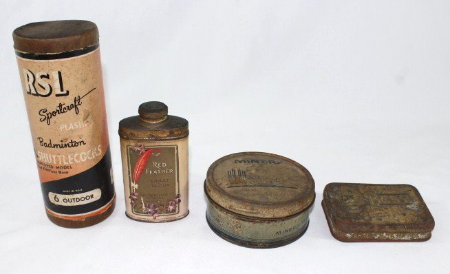 Vintage Shuttlecocks, Red Feather Tin, Miners & Plug